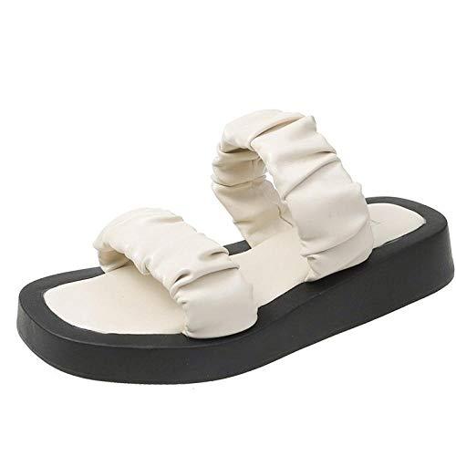 Gemischte Pool Sandalen,Atmungsaktive künstliche PU-Viskose-Sandalen, runde Zehen-Inline-Sandalen für Frauen - milchig_35,Flip Flop Schuhe für drinnen