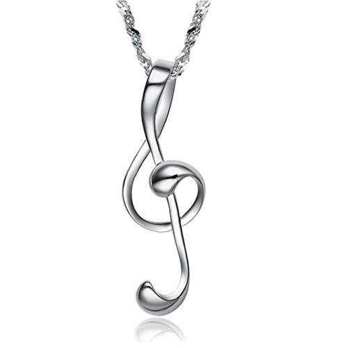 Lankater Nota Musical Collar Minimalista Moda Platino Hueco En Forma De Corazón De Joyería Presente del Día De Tarjeta Colgante para Mujeres