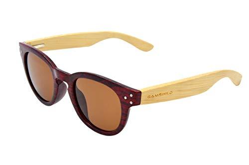 Gamswild WM1428 - Gafas de sol de bambú, unisex, color rojo, azul y marrón