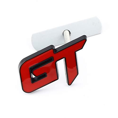 3D Metal GT Coche Tronco trasero Emblema Etiqueta Etiqueta de calcomanías Frontales Grill, compatible con BMW X6 X5 FORD Mustang Focus MK 1 2 3 7 Mondeo (Color : For GT Grill)