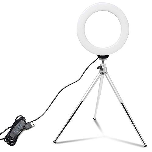 HCFSUK Mini Selfie Ring Light Lámpara LED de Escritorio Luz de Video con para Youtuber Photo Photography Studio Trípode Clip para teléfono