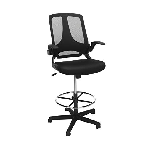 YarStore Drafting Chair with Rest Back Support, Ergonomic Tall Office Chair with Flip Up Arms Foot, Adjustable Height Mesh Drafting Stool for Standing Desk (Black) (1)