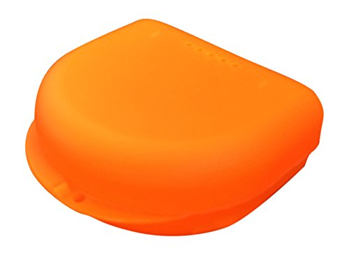 kleine Zahnspangendose, Retainer- Dentalbox, KFO-Box, small (Orange transluzent)