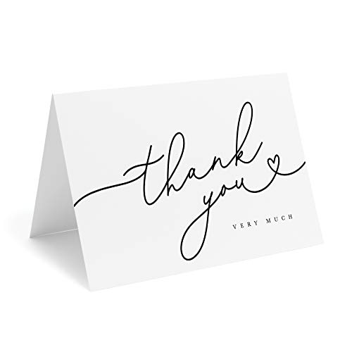 Bliss Collections Black Script Heart Thank You Cards with Kraft Envelopes, Pack of 25, 4x6 Folded, Tented, Bulk, Perfect for: Wedding, Bridal Shower, Baby Shower, Birthday, or just to say thanks!