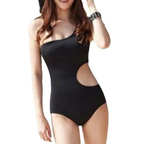 Chollius Costume da Bagno Donna Intero Monospalla Sexy Senza Schienale Tinta Unita Sexy Abito da Spiaggia (Nero, XL)