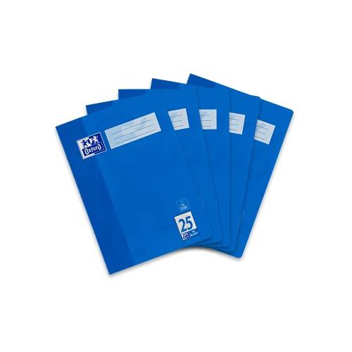 Oxford 400135401 Schule Schulheft A4, Heft liniert mit Rand, Lineatur 25, 16 Blatt, hochwertiges 90 g/m² Papier, blau, 5er Pack