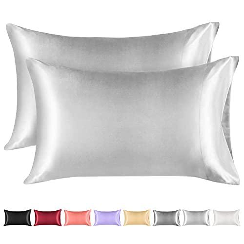 Lirex 2 Paquetes Funda Almohada Seda, King (50x 101cm) Size Microfibra de Color Sólido Suave Funda de Almohada de Seda, Sin Arrugas Resistente a la Decoloración Respirable - Gris Claro