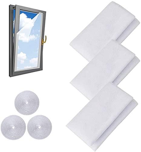 Lot de 3 moustiquaires pour fenêtre avec 3 rouleaux de ruban adhésif (1,3 m x 1,5 m)