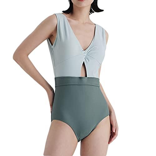 WXYPP Costume da Bagno retrò Un Pezzo Sexy con Pattini al Seno Pieghettato per Bikini con Scollo a V Accogliente (Color : Blue, Size : Medium)