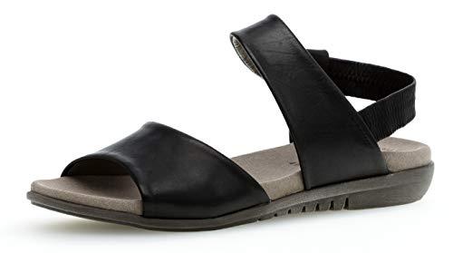 Gabor 24.601 Damen Sandalen,Riemchensandale, Frauen,Sandalette,Sommerschuh,flach,Best Fitting,schwarz,6.5 UK