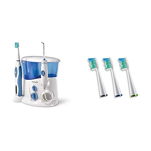 Waterpik Complete Care Water Flosser and Sonic Toothbrush, WP-900 AND Waterpik Sensonic Toothbrush Standard Brush Head, SRRB-3W, 3 count