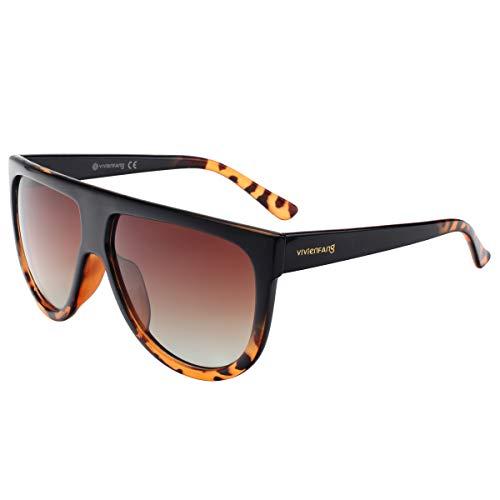 Vivienfang - Occhiali da sole modello aviatore, con montatura vistosa, di grandi dimensioni, con parte superiore piatta, lenti a goccia, protezione UV400, unisex, colore nero, P1835 marrone Black and Tortoise Frame/Brown Gradient Lens