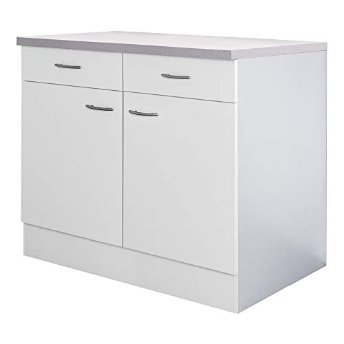 Flex-Well Küchenschrank UNNA | Unterschrank | 2-türig, 2 Schubladen | Breite 80 cm | Weiß