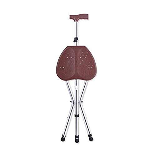 Bastón Con Asiento Plegable,Asiento del trípode Recorrido del Stick de Peso Ligero de caña Para los ancianos,Altura ajustable