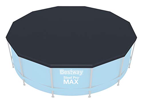 Bestway Flowclear PVC-Abdeckplane D:370 cm, grau, für Steel Pro Pool und Steel Pro MAX Pool D:366 cm und Hydrium Splasher Pool D:360 cm
