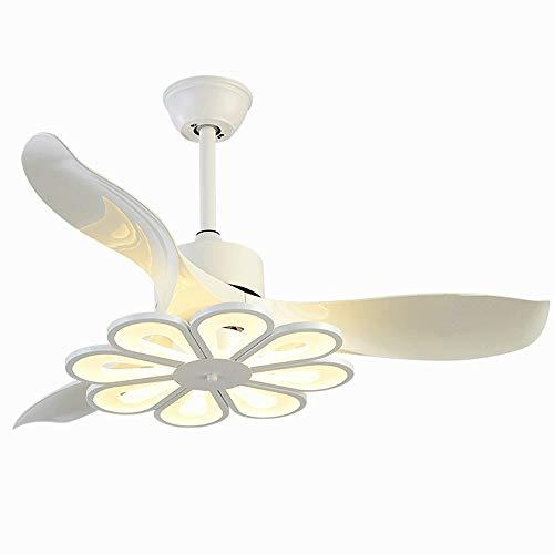 42-inch Bright plafond ventilator, Afstandsbediening, Matte Verf Process, Modern bladen zijn Geruisloos, 3 Speed, 3 Kleurtemperatuur Switch (zwart wit) LYYJIAJU (Color : White)
