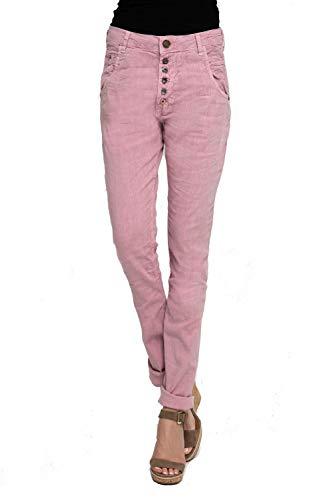 Zhrill Damen Leinenhose Boyfriend Tapered 5 Pocket Slim Fit Amy, Größe:W29 / L32, Farbe:N631 - Rose