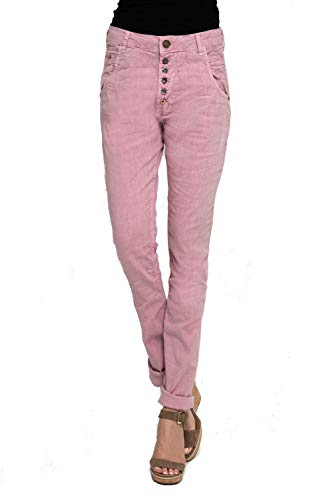 Zhrill Damen Leinenhose Boyfriend Tapered 5 Pocket Slim Fit Amy, Größe:W31 / L32, Farbe:N631 - Rose