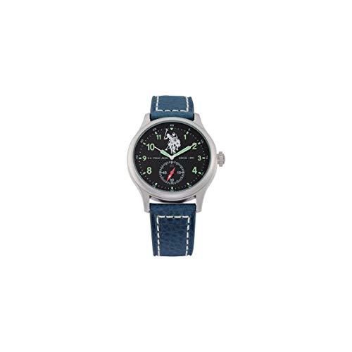 US Polo Association Reloj Analógico para Hombre de Cuarzo con Correa en Cuero USP4306BL