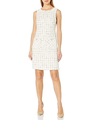 Karl Lagerfeld Paris Women s Scoop Neck Tweed Shift Dress, Ivory, 8