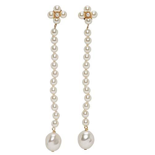 Small fragrance flower super long pearl tassel earrings personality earrings temperament wild earrings tide