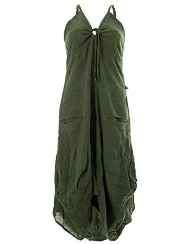 Vishes - Alternative Bekleidung - Lagenlook Ballonkleid mit verstellbaren Trägern olivegrün 46-48 (4XL)