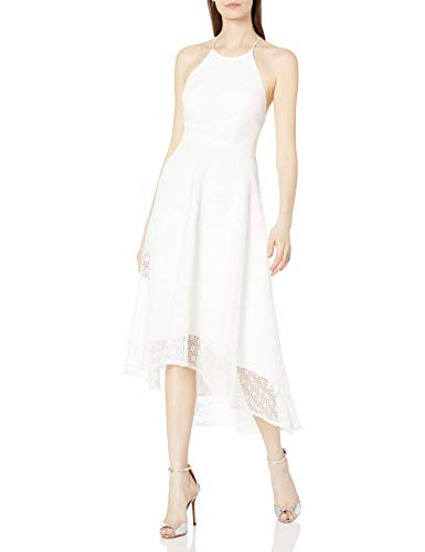 Jenny Yoo Women's Penelope Cross Back High-Low Lace Dress, White, 10