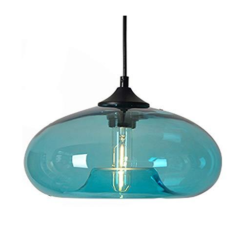 HJXDtech Nueva pantalla de cristal colorida Candelabro Loft colgante de luz Lámpara de techo retro (Azul)