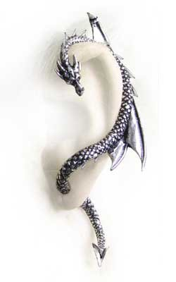 Alchemy Gothic Dragons Lure Linker Ohrring Ohrstecker Links (Silber)