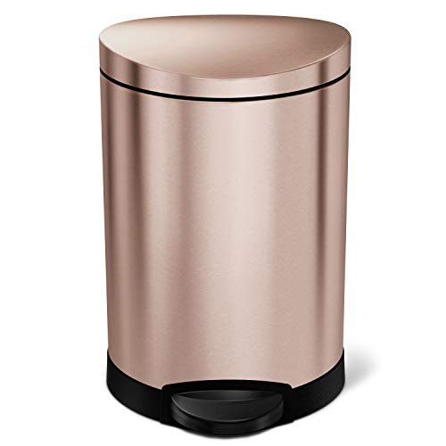 simplehuman 6 Liter / 1.6 Gallon Semi-Round Bathroom Step Trash Can, Rose Gold Stainless Steel