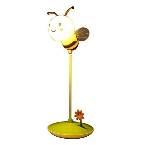 Techo Luz de dibujos animados Bee LED Luz nocturna Creativa Mini portátil Portátil verde Portátil USB Carga de tres velocidades Touch Touch Niños Habitación Sala de estar Estudio Dormitorio Lámpara de