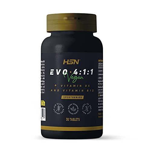BCAA Evo 4:1:1 de HSN | Aminoácidos Ramificados con Ratio 4:1:1 (Leucina, Valina, Isoleucina) + Vitamina B6 y B12 | Vegano, Sin Gluten, Sin Lactosa, 30 tabletas