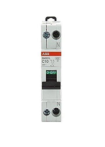 ABB Interruttore Automatico Magnetotermico 1P+N 4,5 Ka Curva C 1 Modulo Din SN201LC10 10 Ampere