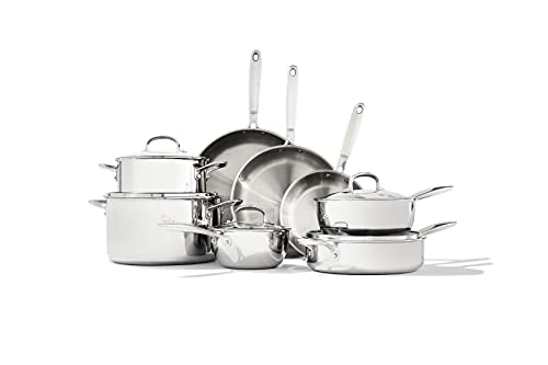 OXO Good Grips Pro Tri Ply Stainless Steel Dishwasher Safe Nonstick Cookware Pots and Pans Set,...