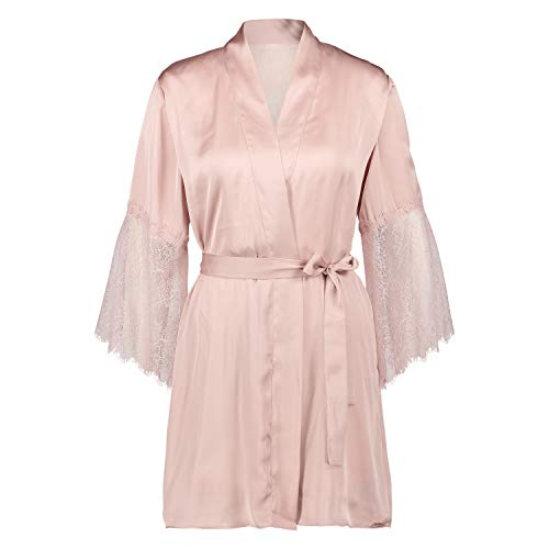 HUNKEMÖLLER Damen Kurzer Kimono Satin Lilly mit Spitze Rose M/L
