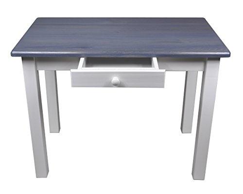 Magnetic Mobel Esstisch mit Schublade Küchentisch Tisch Restaurant Massiv Holz Kiefer (50x70, Grau/Blau)
