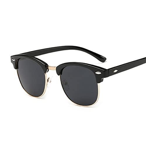 Heigmznvtyj Gafas de Sol Mujer Polarizadas, Gafas de Sol polarizadas cuadradas Mujeres Retro Medio Marco Gafas de Sol Hombres y Mujeres Espejo de Moda (Lenses Color : Gold Gray)