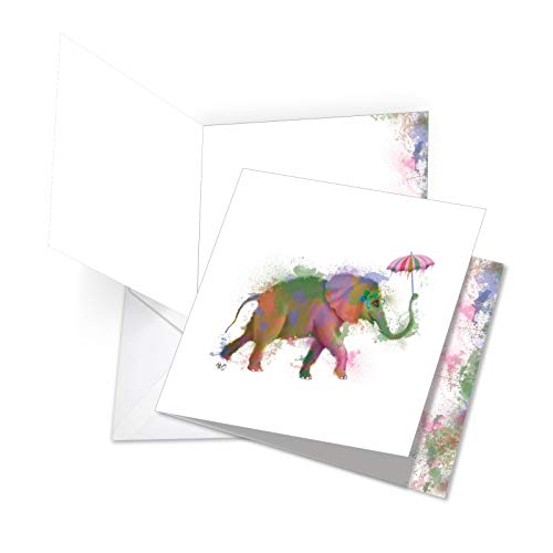 Funky Rainbow Wildlife Elephant - Watercolor Happy Birthday Note Card with Envelope (Extra Large 8.25 x 9.75 Inch) - Cute Bday Greeting Card for Kids, Adults - Zoo Animal Notecard JQ4948JBDG