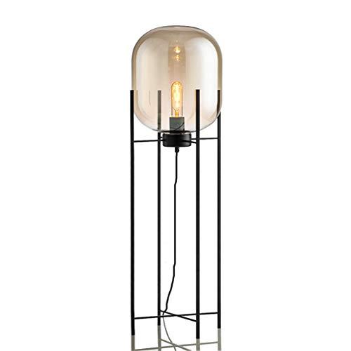 Lampes de chevet Lampadaire De Style Industriel Gris Fumée en Verre Lampe À Quatre Pieds De La Chambre Lampe De Salle De Séjour Etude (Color : Brown, Size : 48 * 140cm)