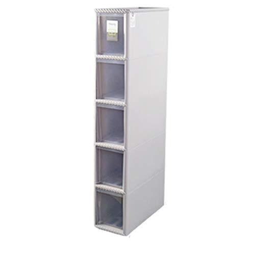 TXXM manufacture Cajonera de almacenamiento con costuras y ranuras para almacenamiento en el baño, cocina (color: gris, tamaño: 5 capas)