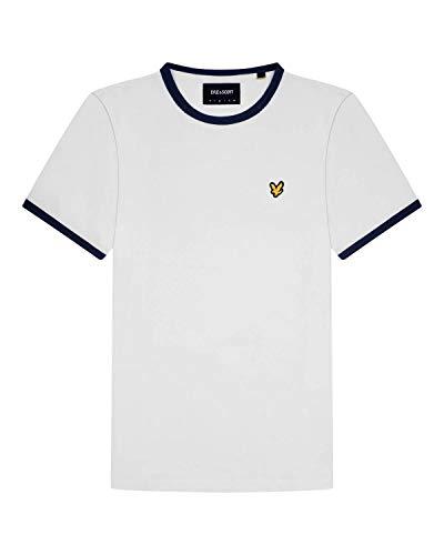Lyle & Scott Herren Ringer T-Shirt, Weiß/Navy, M