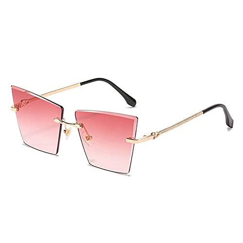 HAIGAFEW Gafas De Sol De Ojo De Gato para Mujer Gafas De Sol Sin Montura De Metal Gafas De Sol con Gradiente para Mujer Accesorios para Gafas Proteger Los Ojos-Rosa roja