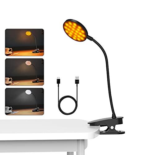Luz Lectura 48 LED,Lampara de Escritorio con Pinza Recargable con Sensor Táctil,5 Modos de Iluminación y 15 Niveles de Brillo,360°Flexible Lámpara de Pinza LED para Lectores Noche, Estudio y E-Reader