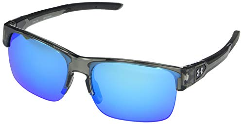 Under Armour Beyond Gloss Crystal Smoke Frame/Black Rubber/Gray/Blue Mirror Lens One Size