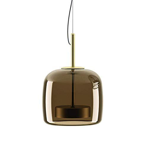 LYHY Lámpara de Techo Colgante de Barra de desván con Acabado de latón de diseño de luz Colgante de Vidrio LED Moderna [Clase energética A ++] (Gris, 26 cm)