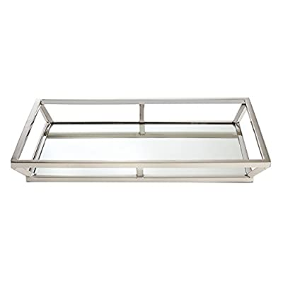 Large Mirrored Ottoman Tray with Slanted Sides