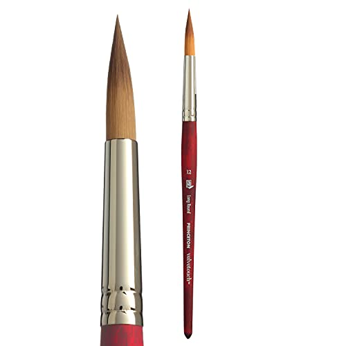 Princeton Velvetouch, Series 3950, Paint Brush for Acrylic, Oil and Watercolor, Long Round, 12