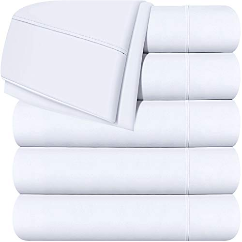 Utopia Bedding Flat Sheets - Pack of 6 - Soft Brushed Microfiber Fabric - Wrinkle, Shrinkage & Fade Resistant Top Sheets - Easy Care (Twin, White)