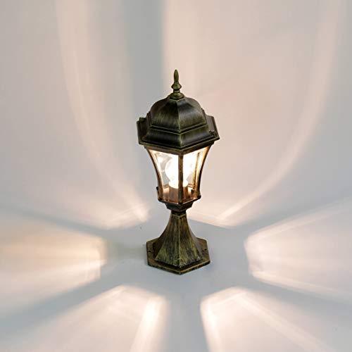 Lampe de chemin rustique en verre d'aluminium antique doré H:50cm WARSCHAU lampe de base lampe de cour cour allée de jardin
