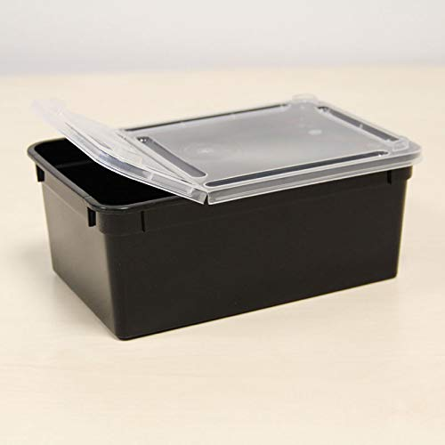 BraPlast Dose 1,3 Liter 18,5 x 12,5 x 7,5 cm - schwarz mit transparentem Deckel/Kunststoff Stapelbox